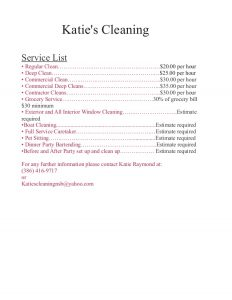 cleaning services price list template katies price list