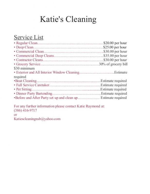 cleaning services price list template