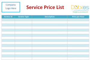 cleaning services price list template price list template for services
