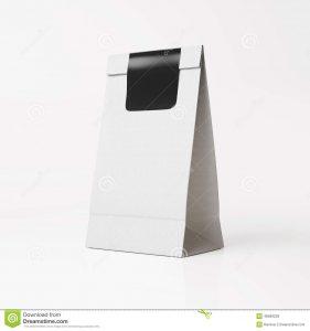 coffee bag mockup white paper bag black sticker mockup light background