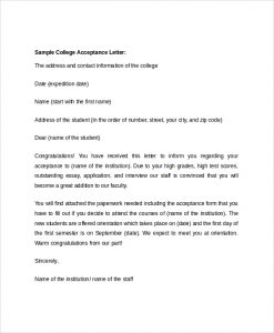college acceptance letter sample college acceptance letter sample