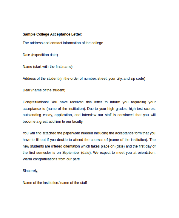 college acceptance letter sample