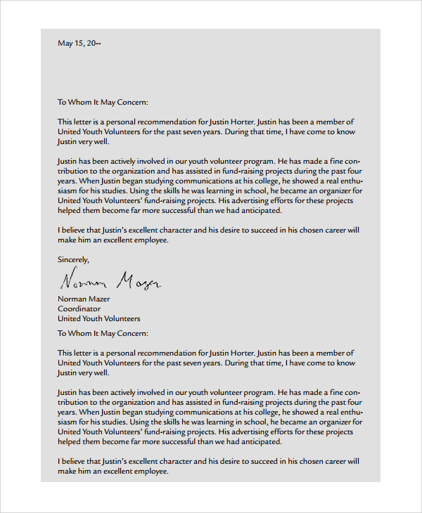 college letters of recommendation