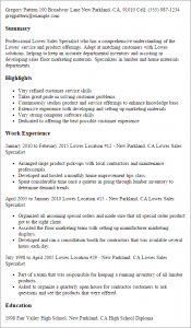 college resume formats lowes sales specialist