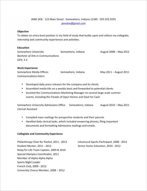 college resume samples