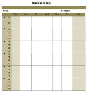college schedule templates blank college schedule template