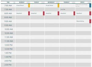 college schedule templates college class schedule template