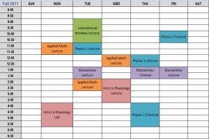 college schedule templates idealschedule