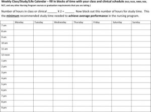 college schedule templates monthly nursing college class schedule template word format