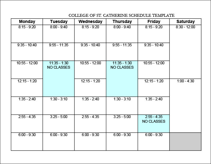 college schedule templates