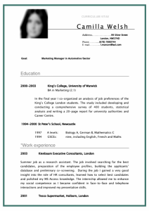college student resume example cv curriculum vitae student sample for marketing manager in automotive sector x