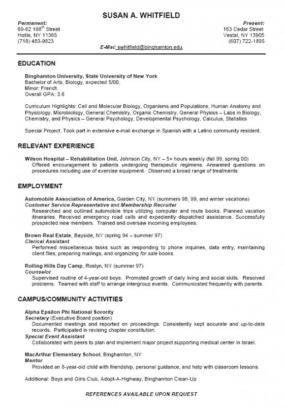 College Student Resume Outline | Template Business