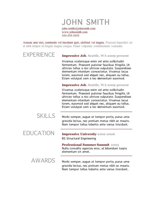 college student resume templates microsoft word