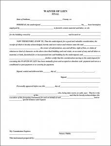 commercial vehicle lease agreement indiana final waiver of lien