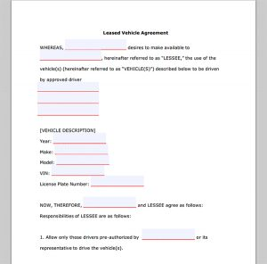 commercial vehicle lease agreement vehicle lease agreement form