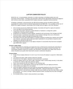 company policy template company laptop policy template