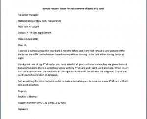 complain letters samples atm card request letter