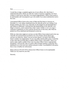 complain letters samples complaint letter to police