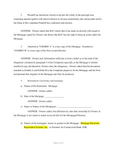 complaint form template bank of america foreclosure answer affirmative defenses counterclaim