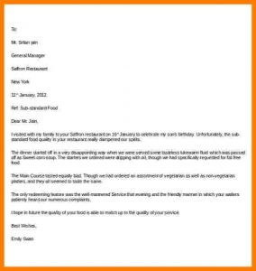 complaint form template how to write a letter of disappointment example restaurant complaint letter