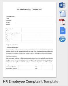 complaints letter sample hr employee complaint template