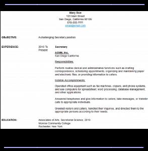computer engineer resumes sample secretary resume