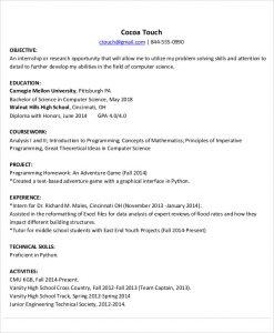 computer science internship resume computer engineering internship resume