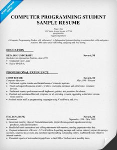 computer science resume sample computer programming student resume sample