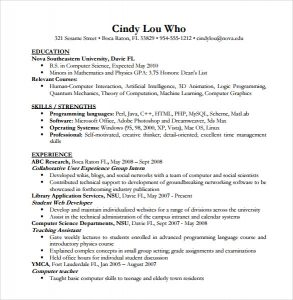 computer science resumes resume of computer science