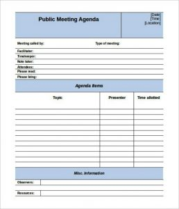 conference schedule template editable public meeting agenda template
