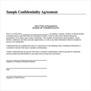 confidentiality agreement samples confidentiality agreement image