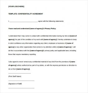 confidentiality agreement template basic confidentiality agreement template word format