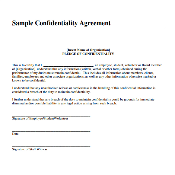 confidentiality agreement template