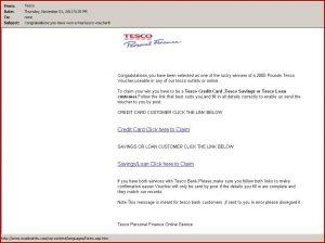 congratulation e mail tesco phishing email scam