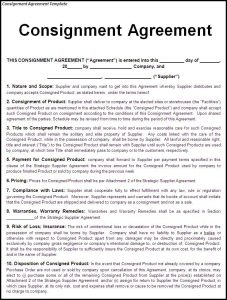 consignment agreement form consignment agreement template