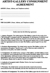 consignment agreement form exhibit a typical artistgallery consignment agreement