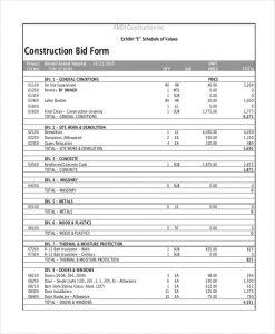 construction bid template construction bid form
