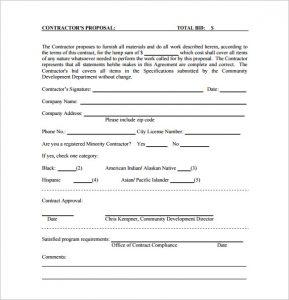 construction bid template contractor bid proposal