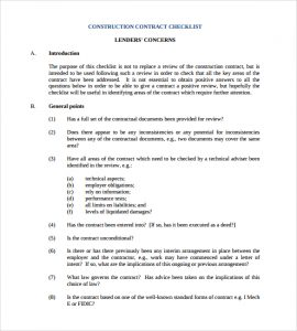 construction contract sample construction contract checklist template