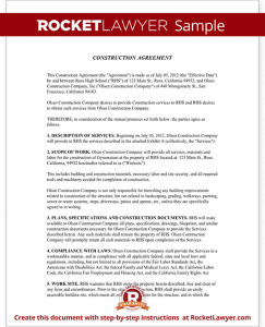 construction contract template sample construction agreement form template