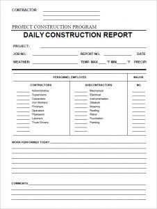 construction daily report daily construction report template in pdf
