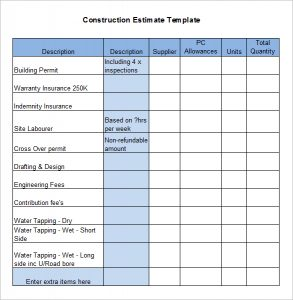 construction estimate template construction estimate template