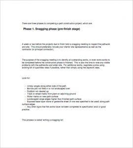 construction punch list template project snag list template