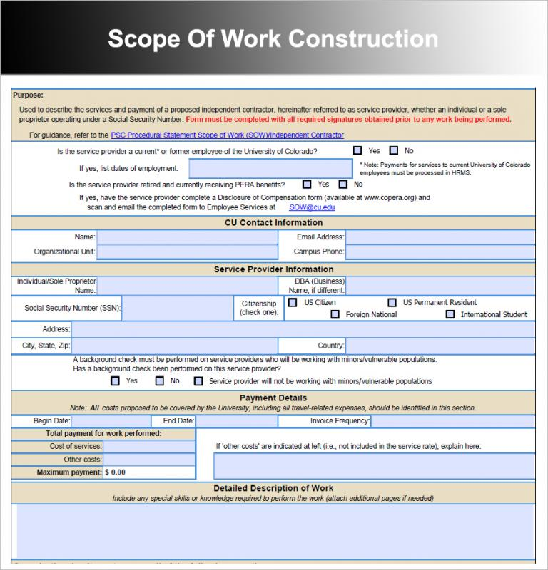 construction scope of work
