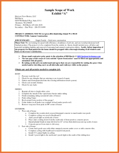 construction scope of work template scope of work example scope of work template