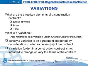 construction scope of work template variations under the fidic form subject to eu procurement law