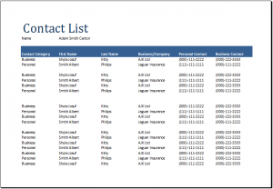 contact list template contact list sample