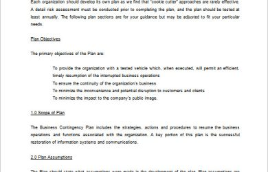 contingency plan example business contingency plan word template free download