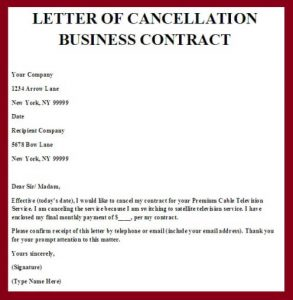 contract cancellation letter letter of cancellation business contract