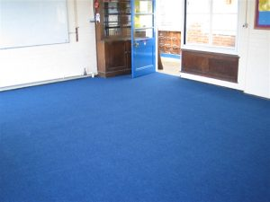 contract for services school classroom fitted with heavy contract rib carpet